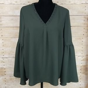 Stitch Fix Pixley Studded Bell Sleeve Green Top